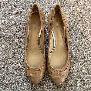Coach Logo Wedge Pumps